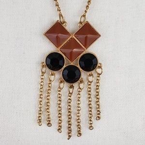 Boho Gold Toned Geometric Statement Necklace